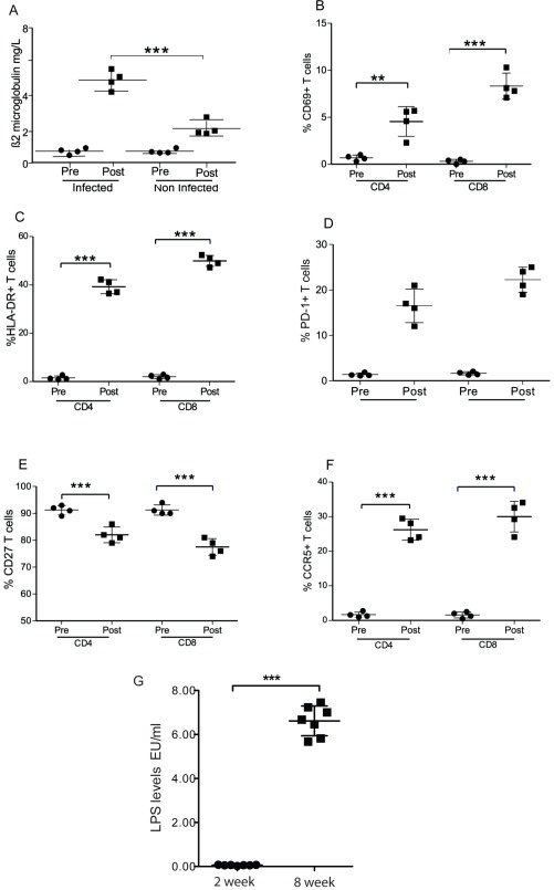 HIV induced immune activation and expression levels of multiple activation markers on CD4+ and CD8+.Blood samples were obtained from mice before and 6 week after HIV-1 JRCSF infection. (A) Beta-2-microglobline levels were measured using ELISA before (Pre) and after HIV-infection (Post) (n = 4) and at same time intervals in engrafted but noninfected mice. (B) CD69 (C) HLA-DR (D) PD-1 and (E) CD27 (F) CCR5 levels were evaluated on CD4+ and CD8+ cells. (G) LPS levels in humanized mice 2 and 8 weeks post-HIV infection. Each circle and square represent one mouse at the indicated time point. Means are shown in solid lines. P values were determined by unpaired student's t-tests. ** indicates a P value<0.001 and *** indicates a P value<0.0001.