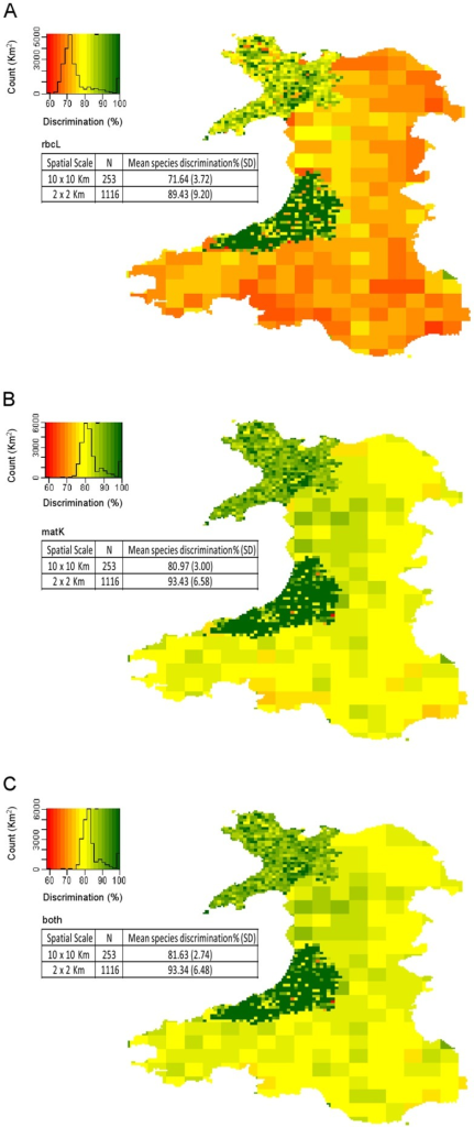 Species discrimination success (%) at different spatial scales across Wales.Species discrimination for Wales at the 10×10 km level and for 3 vice-counties at the 2×2 km level for A) rbcL B) matK and C) combined. This uses 891,756 plant species records from the Botanical Society of the British Isles. Species discrimination for each square is determined by taking the species list for that square and conducting barcode gap analysis (using multiple alignments).
