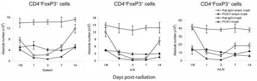 The absolute number of CD4+FoxP3+ Treg cells in the spleens and LNs.Both PC61 administration and irradiation reduced the number of CD4+FoxP3+ Treg cells in spleen, iLN and mLN. Irradiation resulted in a more rapid restoration of Treg cells after day 7. Data are shown as Mean±SD (n = 4). Two way ANOVA showed significant interactions over time between treatments in the Treg absolute numbers in spleen, iLN and mLN (all p<0.01). Differences between all pairs (PC61+sham irradiation vs Rat IgG+sham irradiation, PC61+irradiation vs PC61+sham irradiation, Rat IgG+sham irradiation compare to Rat IgG+irradiation, Rat IgG+sham irradiation compare to PC61+irradiation, PC61+sham irradiation compared to Rat IgG+irradiation and PC61+sham irradiation compared to PC61+irradiation treatment groups) of treatment group profiles over time were significant (p<0.05). All post hoc pairwise comparisons were performed with Tukey's multiple comparisons. This is one representative experiment of three performed.