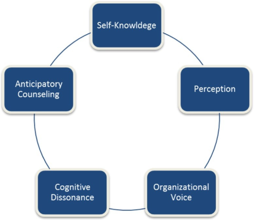 Diagramatic flow of 5 career advising discussion topics.