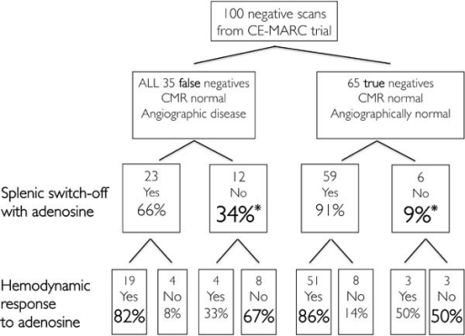Data from CE-MARC trial to assess splenic and hemodynamic responses to adenosine There were significantly more patients with false negative CMR perfusion scans who failed to switch-off splenic perfusion with adenosine (indicating inadequate pharmacological stress) in comparison to those with true negative scans. Concordance was good between hemodynamic and splenic responses to adenosine. *p = 0.0027.