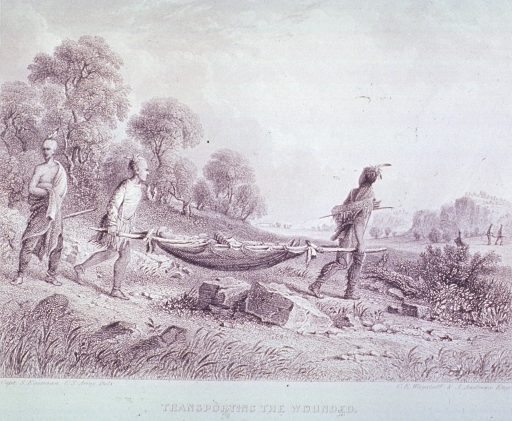 <p>Two Indians are transporting a sick or wounded Indian on a stretcher; another Indian follows.</p>