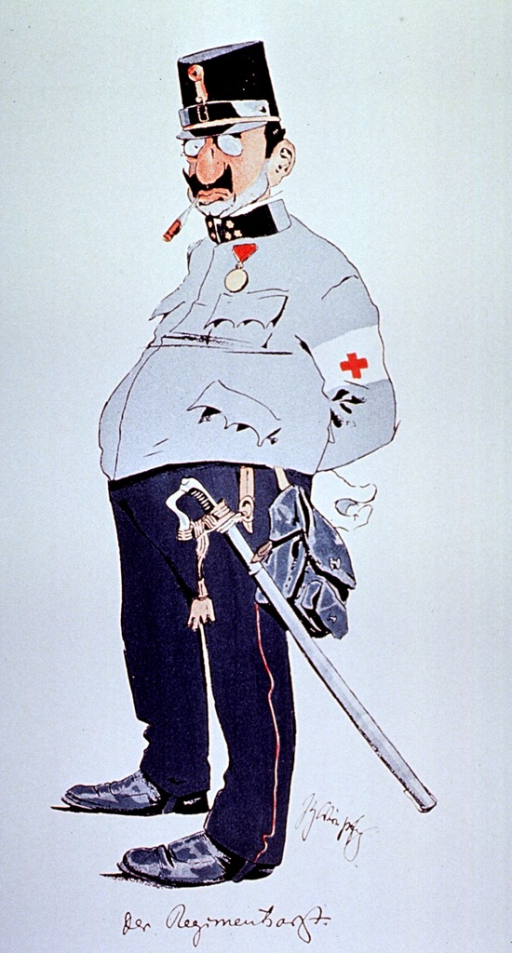 <p>Caricature: a regimental physician standing full length, wearing uniform and sword.</p>
