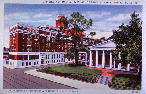 <p>Exterior view: drawing with grass and trees in front of a building with columns; trolley tracks are running parallel to the school building.</p>