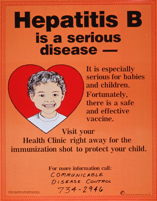 <p>Bright orange poster with black lettering.  Title at top of poster.  Visual image, on left side of poster below title, is an illustration of a child framed in a heart.  Text next to image explains that hepatitis B is dangerous for babies and children and that there is a vaccine available.  Caption below illustration.  Space provided at bottom of poster for local contact information and a phone number is provided.  Publisher and sponsor information at bottom of poster.</p>
