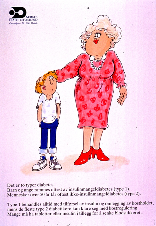 <p>Predominantly white poster with black and blue lettering.  Publisher information in upper left corner.  Visual image is a color illustration of a boy and a plump older woman.  Title and additional text explaining insulin-dependent and non insulin-dependent diabetes below illustration.</p>