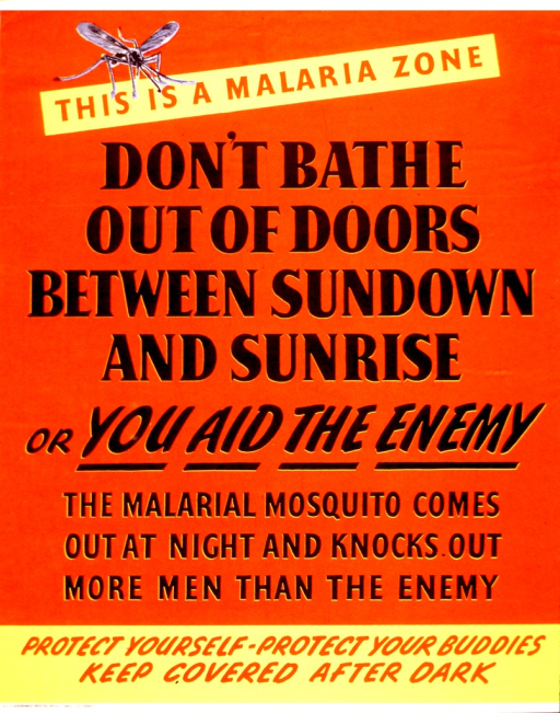 <p>Visual consists of a small mosquito at the top of the poster. The remainder of the poster is text, either red print on a red background, or black print on a red background.</p>