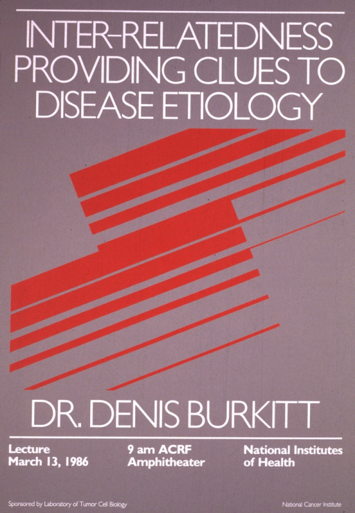 <p>The poster is gray with dark red stripes in varying widths across the center of the poster and white print.  The date (Mar. 13, 1986), time, and location for the lecture are listed.</p>