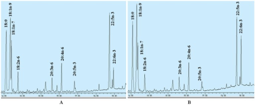 Partial gas chromatograph traces showing fatty acid profiles of total cellular lipids extracted from the control cells transfected with pcDNA3.1-EGFP (A), and the cells infected with pcDNA3.1-sScD4 (B).