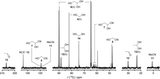 13C NMR spectrum of the products of irradiation (2 h, pH 7) of a system made by mixing a solution of [13C2]-labeled glycolonitrile 5 (10 mm), hydrogen sulfide 10 (30 mm), and sodium phosphate (33 mm) with solid copper(I) cyanide (10 mol % with respect to 5).