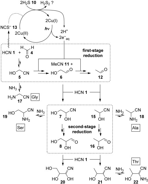 Photoredox systems chemistry of glycolonitrile 5, with hydrogen sulfide 10 as the ultimate reductant.