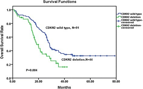 Overall survival comparison among Ph-positive patients. Kaplan–Meier Curve demonstrated significantly a shorter survival time in CDKN2 wild-type patients than in CDKN2 deletion patients (P = 0.004)