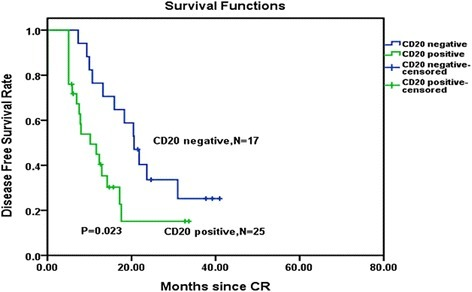 Disease-free survival comparison among CDKN2 deletion patients received immunophenotypic analysis. Kaplan–Meier Curve demonstrated a significantly shorter disease-free survival time in CDKN2 deletion patients with CD20-positive patients than in CDKN2 deletion with CD20-negative patients (P = 0.023). CR complete remission