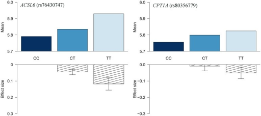 HbA1c association for ACSL6 (rs76430747) and CPT1A (rs80356779).Data are shown as raw means stratified by genotype, and as effect sizes estimated without assuming an additive effect model.