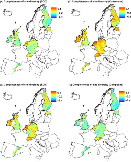 Completeness of site diversity at the regional scale calculated with (A) species co‐occurrence and (B) species distribution modeling method, and (C) consensus of used methods and (D) composite of used methods. For comparison, we used the same scale for all maps. Projection: Lambert azimuthal equal area.