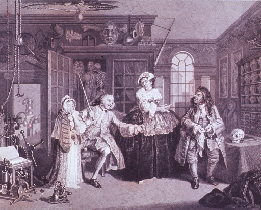 <p>Interior view of a physician's office: Two men and a woman discuss the arrangement of a marriage between one of the men and a young woman standing to the left.</p>