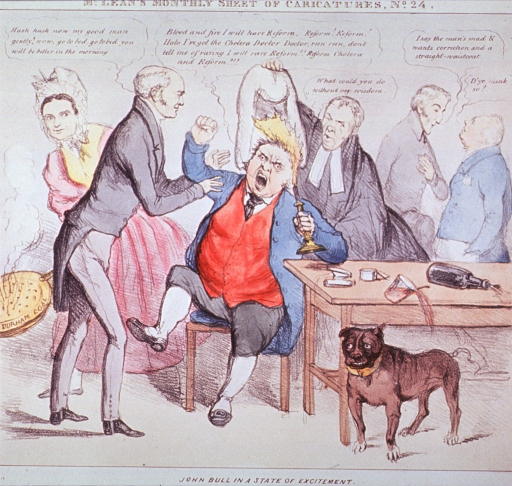 <p>John Bull sitting in an agitated state, his hair on fire; a doctor attempts to calm him, and a nurse stands waiting with a smoking warming-pan; a Chancellor attempts to extinguish the fire with his wig; on a table are various medicine containers.</p>