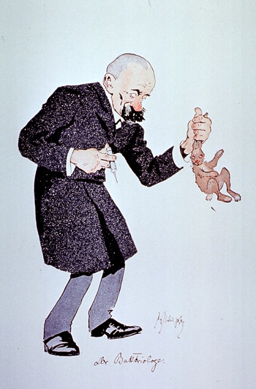 <p>Caricature: a bacteriologist standing full length, holding a syringe in one hand and a rabbit by the ears in the other.</p>