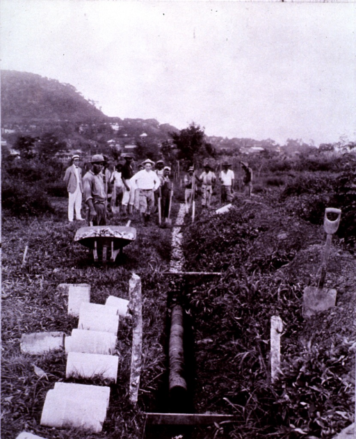 <p>Health dept. of the Panama Canal, laying rock covered subsoil tile drains.</p>