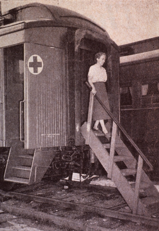 <p>Exterior view of a railroad car converted into a mobile nursing clinic to be used in northern Manitoba.</p>