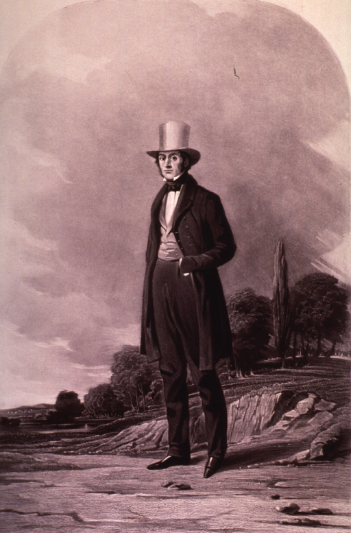 <p>Full length, standing; wearing top hat; landscape background.</p>