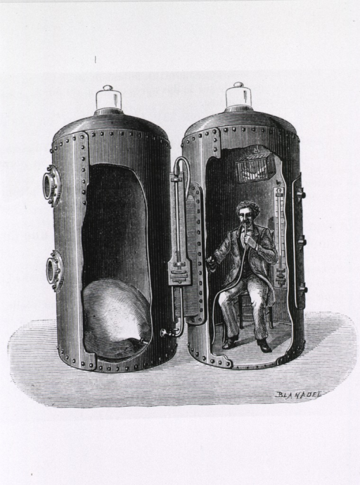 <p>Bert seated in a cross section view of his pressure chamber, breathing oxygen enriched air.</p>