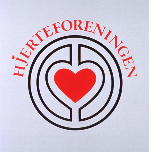 <p>White poster with red lettering.  Title near top of poster.  Visual image is the Danish Heart Association's logo, a heart in a labyrinth-style design.</p>