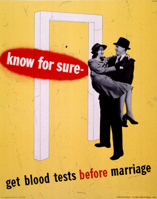 <p>Yellow poster with multicolor lettering.  Visual image is part illustration, part b&amp;w photo reproduction.  The photo portion depicts a man carrying a woman.  The illustration is of a threshold, placed so the couple is about to cross it.  Initial title phrase superimposed on threshold.  Remaining title phrase below image.  Publisher information at bottom of poster.</p>