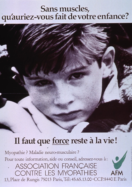 <p>Predominantly black and white poster with black lettering.  Title at top of poster.  Visual image is a reproduction of a b&amp;w photo of a young boy resting his head on his arms.  Caption below photo emphasizes the need for strength in life.  Additional text near bottom of poster urges those with questions about neuromuscular disorders to contact the publisher.  Green publisher logo in lower right corner.</p>