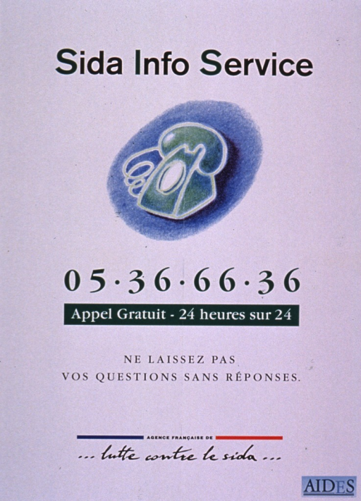 <p>Predominantly white poster with black and white lettering.  Title at top of poster.  Visual image is a color illustration of a telephone.  Hotline number and note below image.  Publisher information near bottom of poster.</p>