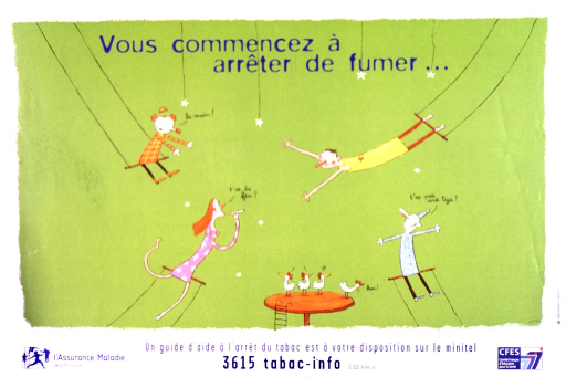 <p>Four acrobats are swinging through the air, each on a trapeze.  Two are dressed as clowns.  A concerned-looking man swings toward a woman, who has a smile on her face, a cigarette in her hand, and is asking if anyone has a light for her cigarette.  One clown cries &quot;Your hand!&quot;  There are four puzzled chickens on a platform.</p>