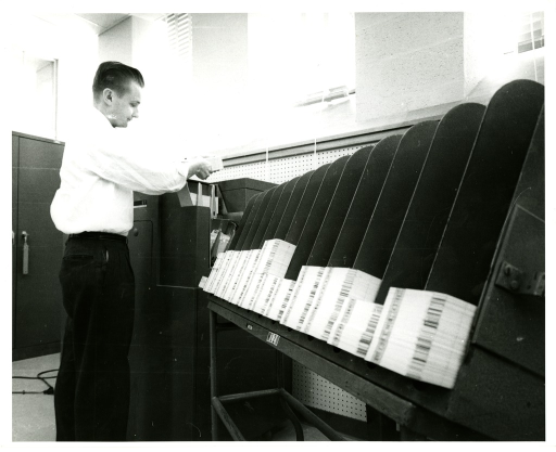 <p>Lloyd L. Wommack operates a punch card machine in the Bibliographic Services Division Input Unit at the National Library of Medicine.</p>