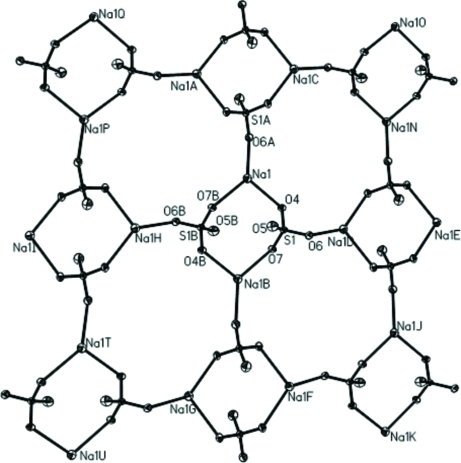 [Na2(SO4)2]n2n- network in title compound 1.