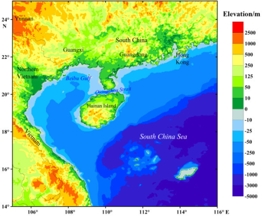 Map Of Hainan Island And Its Surrounding Regions Showing Elevation Relative To Modern Sea Level