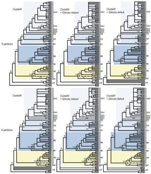 Cladograms of relationships among the Sycoecinae obtained from the ClustalW alignment of the combined dataset under three different alignment strategies and two partitioning schemes.The corresponding ML and Bayesian trees are given in Figures 2, S1-S6. Nodes with BP support < 70% have been collapsed and BP supports for main clades are indicated at nodes. Uppercase letters refer to clades discussed in the text (see also Figure 2). The dashed line indicates the only taxon with a conflicting position among trees (see text).