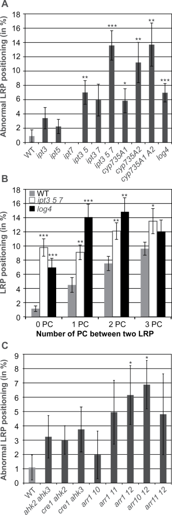 A decrease in cytokinin content or signalling increases the frequency of defects in positioning of LRP. (A) Percentage of LRP positioned immediately adjacent to each other in 11-d-old seedlings of cytokinin-synthesis mutants. n (number of roots analysed) = 12–16. (B) Proportion of LRP separated by zero to three PCs in wild type (WT; n = 30) and the cytokinin-synthesis mutants ipt3 5 7 and log4. n = 15–17. (C) Percentage of LRP positioned immediately adjacent to each other in 11-d-old seedlings of cytokinin-signalling mutants. n = 11–14. Significance of differences in (A-C) was analysed by two-tailed Student's t-test. *P < 0.05; **P < 0.01; ***P < 0.001. Error bars indicate SEM.
