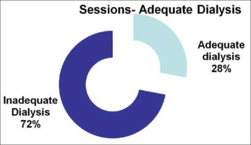 Frequency of adequate dialysis sessions (spKt/V > 1.2); total sessions = 400; inadequate sessions = 288 (72%) and adequate dialysis sessions = 112 (28%)