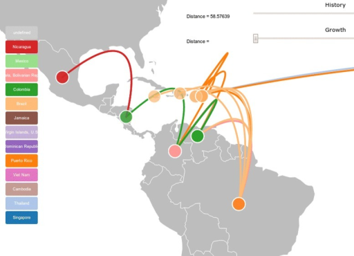 Phylogeographic plotting. HIV subtype B consensus tree plotted in Central and South America