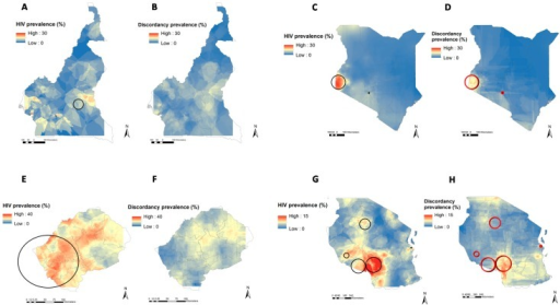 Geographical clustering of the number of HIV infections and the number of HIV sero-discordant partnerships in Cameroon, Kenya, Lesotho, Tanzania, Malawi, Zambia, and Zimbabwe. Black circles delineate spatial locations of high HIV prevalence clusters and red circles delineates high HIV SDP clusters in Cameroon (A,B), Kenya (C,D), Lesotho (E,F), Tanzania (G,H), Malawi (I,J), Zambia (K,L), and Zimbabwe (M,N). Continuous surfaces of HIV prevalence (A,C,E,G,I,K,M) and sero-discordant partnership prevalence (B,D,F,H,J,L,N) within a country were generated using the inverse distance weighted mapping algorithm [23].