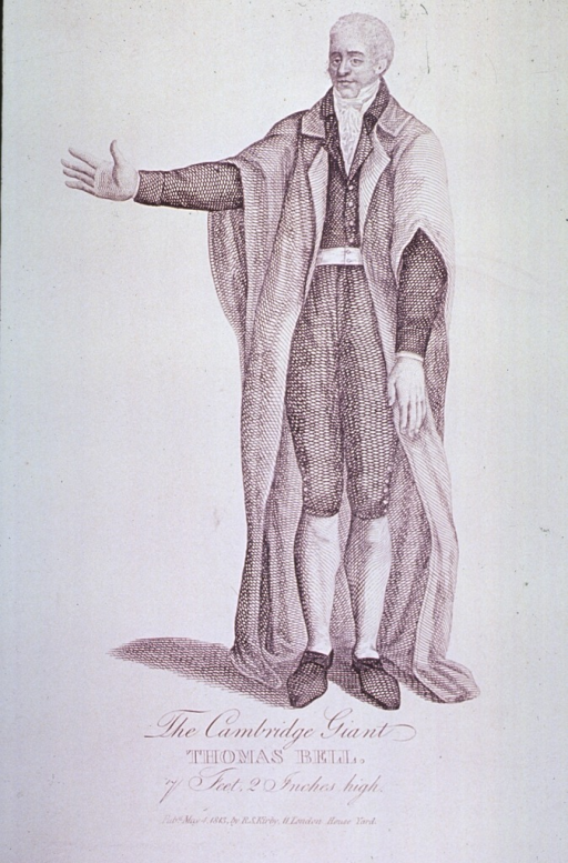 <p>Thomas Bell, 7 feet 2 inches tall, is shown standing in full length.</p>