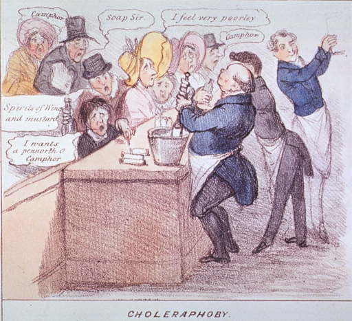 <p>A crowd of customers besiege a pharmacy seeking remedies for cholera.  One pharmacist joyfully works a pestle and mortar; another serves the customers; while a third, with a wink, removes a container from a shelf.</p>