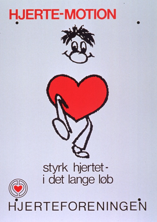 <p>White poster with red and black lettering.  Initial title words at top of poster.  Visual image is a cartoon-style illustration of a man, whose torso is a heart, walking or running.  Remaining title words below illustration.</p>