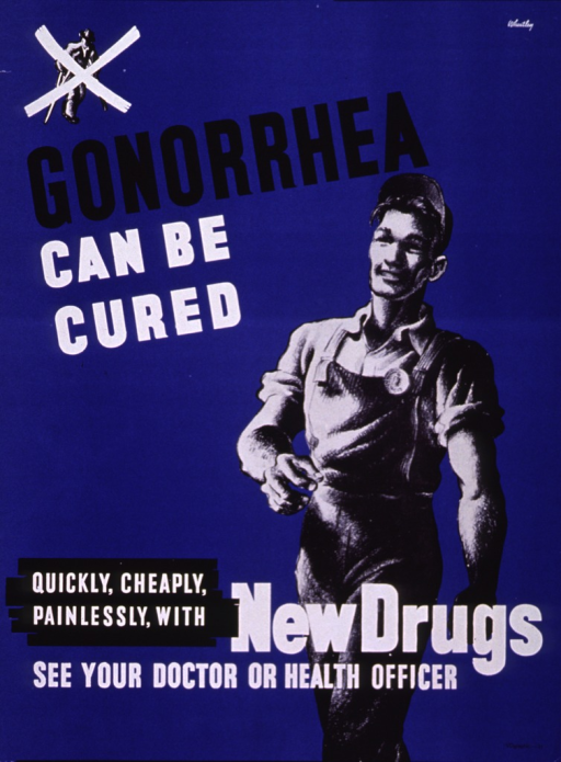 <p>Blue poster with black and white lettering.  Small illustration in upper left corner shows a man leaning on crutches, with a white &quot;x&quot; superimposed.  Initial title phrase in upper portion of poster.  Dominant illustration shows a healthy, happy man striding along, wearing his work overalls.  Remaining title phrase and note superimposed  on lower part of illustration.</p>
