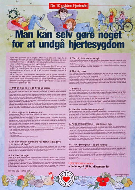 <p>Multicolor poster.  Title at top of poster.  Illustrations of a man reading, a woman listening to a man's heart, and people exercising also near top of poster.  Illustrations of healthy foods and publisher logo at bottom of poster.  Remainder of poster features text that appears to offer advice for avoiding heart disease.</p>