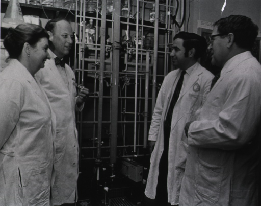 <p>Professor Helena Gerasimove, Dr. Donald Fredrickson, Dr. Robert I. Levy, and Professor Anatoli Klimov discuss the problem of elevated serum lipids during November 1972 - January 1973 visit to the National Heart and Lung Institute.</p>