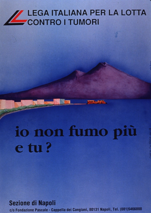 <p>Predominantly light blue poster with blue lettering.  Partial publisher information at top of poster.  Visual image is an illustration of the Bay of Naples, with Mt. Vesuvius in the background.  Title superimposed on illustration.  Remaining publisher information at bottom of poster.</p>