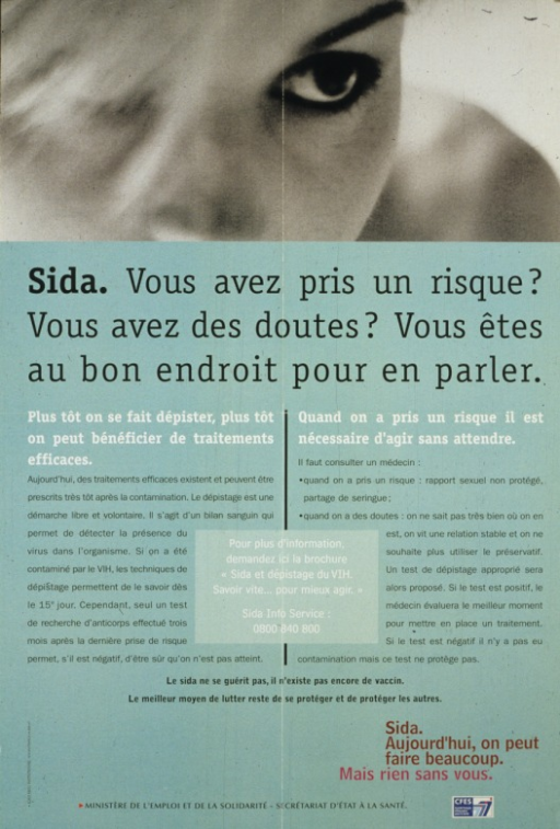 <p>The top of the poster is a young woman's face, with one eye clear and the other obscured.  The text discusses when a person should be tested for HIV and the ease of being tested.  A phone number is given for obtaining more information.</p>