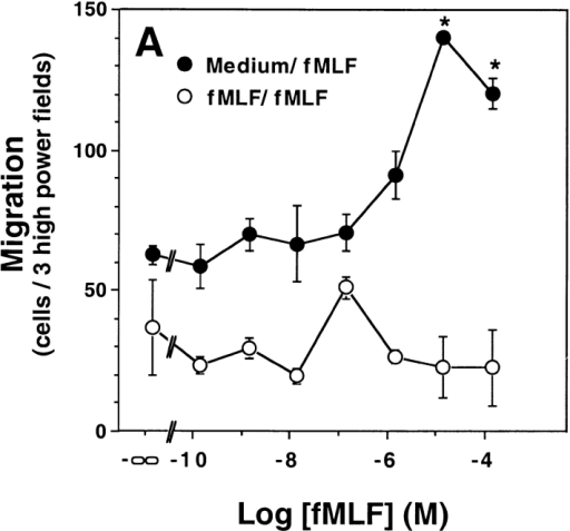 FPR2 is a chemotactic receptor. HEK 293 cells stably transfected with mouse FPR, FPR2, or Fpr-rs1 were incubated in a microchemotaxis chamber for 5 h, and the number of migrating cells was counted. Data shown are from a single experiment representative of more than five separate experiments in each panel with a consistent pattern. (A) FPR2 transfectants with equal concentration of fMLF in the upper and lower chambers (fMLF/fMLF, open circles), or with fMLF in only the lower chamber (Medium/fMLF, filled circles). *Statistically significant difference between the points shown and baseline migration in the absence of fMLF, P < 0.0005 by Student's t test. (B) FPR transfectants (circles) and Fpr-rs1 transfectants (squares).