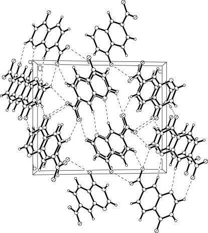 The packing of the title compound with hydrogen bonds shown as dashed lines.