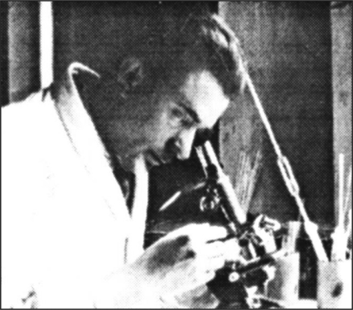 Dr. Luigj Benusi during his pioneer work in the State Laboratory of Tirana, 1945. Courtesy of Tartari F., Albanian Society of Urology
